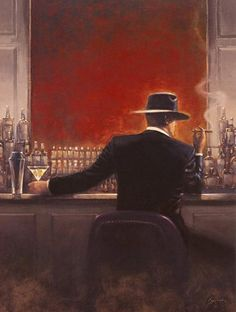 Unknown Artist Brent Lynch Cigar Bar painting | framed paintings for sale