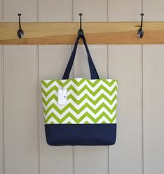 Green & Navy Chevron Tote Bag by SaltwaterStitches1 on Etsy, $50.00