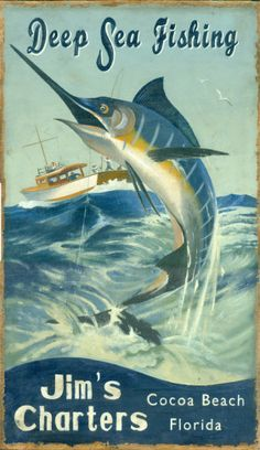 Marlin Fishing Vintage Wood Sign at AllPosters.com