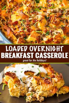 Loaded Overnight Breakfast Casserole – The Chunky Chef This make ahead breakfast casserole is a true family favorite! Perfect for a holiday breakfast, or anytime, it's loaded with bold flavors and is a cinch to make! Christmas Breakfast Casserole, Overnight Breakfast Casserole, Brunch Casserole, Breakfast Casserole Sausage, Casserole Recipes, Strata Recipes, Breakfast Casserole With Croissants, Sausage Egg Bake, Egg Bake Casserole