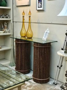 """Twig Style Pedestal   Great as a Console Table   14"""" Diameter x 34"""" High  $750 Pair   Booth #282  Lula B's  1010 N. Riverfront Blvd. Dallas, TX 75207"""