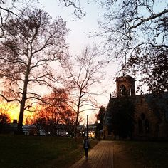 perfect time of day outside the Chapel at UVA