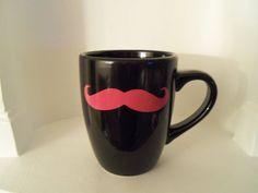 Black Mustache Mug Pink Mustache Mustache by YouniquelyElegant