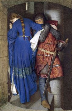 Frederic William Burton, Irish, 1816 - 1900 Hellelil and Hildebrand, the Meeting on the Turret Stairs, 1864 Watercolour and gouache on paper 95.5 x 60.8 cm Signed: lower left: FWB 1864 Bequeathed, Miss Margaret Stokes, 1900 NGI.2358 National Gallery of Ireland