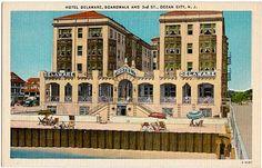 Vintage New Jersey Postcard -- The Delaware Hotel, Boardwalk at 3rd Street, Ocean City ~~~ The VintagePlum Shop on Etsy ~~~ #vintage #newjersey #postcard #delawarehotel #oceancity #beach #boardwalk #ocean #shore #seaside #jerseyshore #1940s