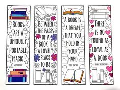 Book Quote Bookmarks PDF Zentangle Coloring Page