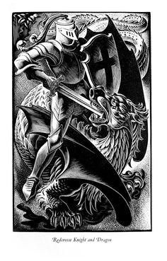 John Austen illustrator. Redcrosse Knight and Dragon.