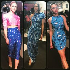 Crystal Couture 2015 fashion show. Collection by local designer Kim Elleen.  Blue maxi dress with shoulder cutout, blue bodycon dress, blue midi pencil skirt and crop top