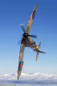 Stunning, pin-sharp images of the final 55 airworthy Spitfires Phoenix: Spitfire (pictured), the oldest Spitfire still flying, was fully restored after being shot down over Dunkirk in May 1940 and reappearing from the sands in 1986 Ww2 Aircraft, Fighter Aircraft, Military Aircraft, Fighter Jets, Ww2 Fighter Planes, Air Fighter, Military Jets, Spitfire Supermarine, Old Planes