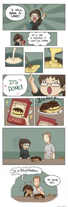 Vou fazer um bolo ... Se eu usar um pacote não tem como errar ... Esta feito... Eu falheiiiiii....Não, Não falhou