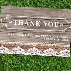 Customized Rustic Wedding Thank You Card | Lace, Burlap, and Wood | DIY Printable | Print Inside and Outside by BohoChicDesigners on Etsy