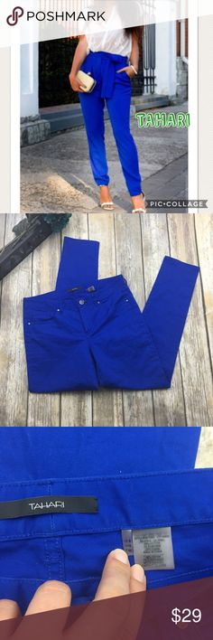 🎈 Tahari Blue Straight Leg Pants Blue straight leg pants. In excellent used condition. Size 8. 32 inch waist. 8 1/2 rise. 29 inch inseam. 6 inch bottom pant leg width. Color varies do to lighting. Tahari Pants Straight Leg