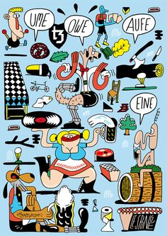 From German illustrator Sebastian Schwamm for the Bavarian Brand FYFY. I love his colours and ridiculous whimsy.