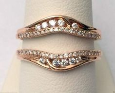 14k Rose Gold Solitaire Enhancer Round Diamonds Ring Guard Wrap Jacket Insert by RG&D