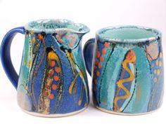 Standard mug and small jug in Midnight Blue design by UK studio potter Lea…: