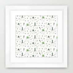 Succulents and Triangles Framed Art Print