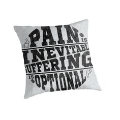 """Pain is Inevitable Suffering is Optional, Hockey"" Throw Pillows by gamefacegear 