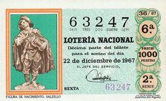 Décimo de Lotería de Navidad del año 1967 - FIGURA DE NACIMIENTO. SALZILLO
