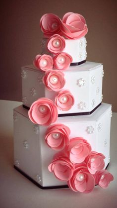 Created this 3 tier paper cake today for a bridal shower. There will be 2 of them at each end of the table. LOVE!!!!! ❤ www.cutncreate.com facebook.com/CutnCreate