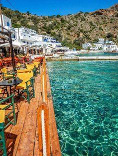 Cafe by the sea in Loutro, Crete, Greece