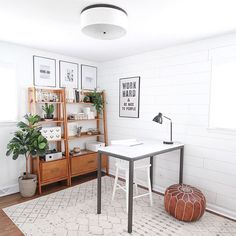 If you're guilty of seriously neglecting your home office, raise your hand! is serving as our office inspiration for the week! Shop this whole look with link in our bio ☝️ Home Office Space, Home Office Design, Home Office Decor, Home Decor, Office Ideas, Desk Ideas, Office Style, Scandinavian Office, Home Office Organization