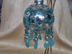Pin and Bead Ornament | Beaded Christmas Ornament $12.00 | Bead Covered Christmas Ornaments