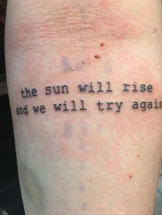 O sol nascerá e vamos tentar mais uma vez
