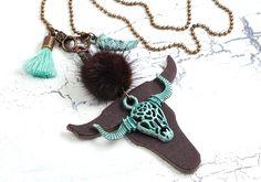 Charm- & Bettelketten - trendy Büffel-Kette ✿ Boho ✿ Patina, Lederanhänger - ein Designerstück von Lunas-SchmuckART bei DaWanda