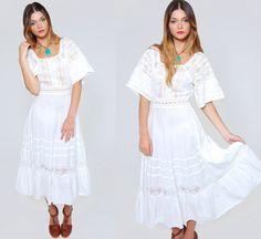Vintage 80s White LACE Dress Boho Maxi Dress by LotusvintageNY
