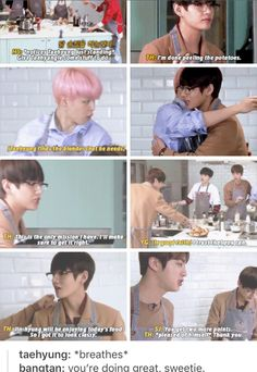 Taehyung cooking on Run BTS. It's because Taetae is good and pure and the softest sweetie-est ray of sun.