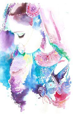 Original Watercolour Painting Indian Woman by silverridgestudio