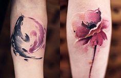 Fluidez perfeita nas tattoos aquareladas e originais de Chen Jie