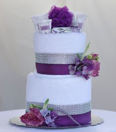 "The ""SWEET LAVENDER"" Towel Cake.                                               Perfect for Mother's Day or Bridal Shower Gift."