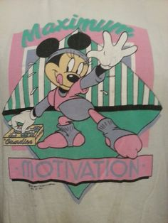 Vintage 90's Walt Disney Minnie Mouse Maximum Motivation Exercise Tee Shirt Made In USA Geometric Modern Design