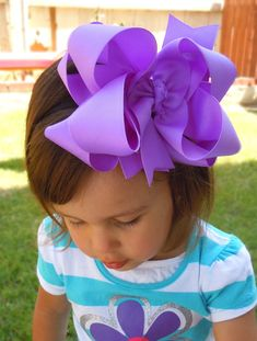 "EXTRA LARGE 6""  Double Layered  Boutique Hair Bow made with Yards and Yards of Grosgrain Ribbon. CHOOSE Your Color(s). $9.00, via Etsy."