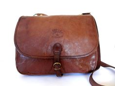 IL BISONTE Distressed Chocolate Brown Leather by TheArchipelago, $185.00