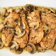Easy Chicken Marsala Recipe - Sum of Yum Shrimp Carbonara, Easy To Make Dinners, Marsala Recipe, Chicken Marsala, Stuffed Mushrooms, Lunch, Meat, Vegetables, Recipes