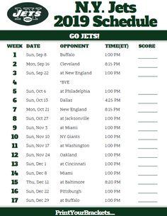 Printable N.Y. Jets Schedule - 2019 Season