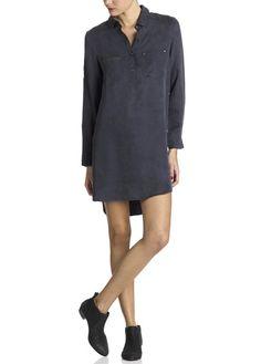 Robe chemise fluide bleu