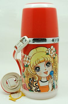 600ml polyethylene and polypropylene young girls' tea thermos, with attached carry strap and cup lid, Japan, 1970-75, maker unknown.
