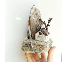 Купить 'Домик в горах' миниатюра, домик для интерьера, дрифтвуд-арт - домик-миниатюра, сувенир-домик