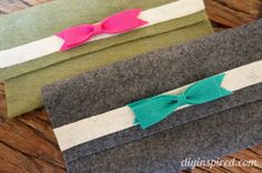 Easy to make felt no sew bags for almost anything including makeup, pencils, jewelry, gift certificates, and more.