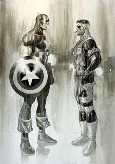 Captain America and Nick Fury by Jack Herbert