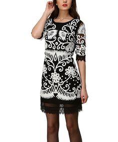 Look what I found on #zulily! Black & White Concordia Floral Dress by Almatrichi #zulilyfinds