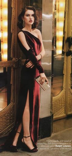 """ VIP Black Orchid Club""   Rosamaria GFrangini rocking a Burgundy Suede with a side slit detail for Ralph Lauren"