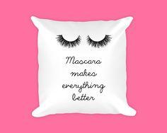 Makeup gift Makeup pillow Pillow case Girly pillows Throw pillows with quotes…