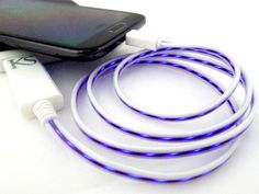 This micro USB cable uses Electroluminescent (EL) technology that allows you to literally see electrical current as it charges your phone or tablet. The cable glows as current flows through it. The current flow speed tells you the charge level on the battery.