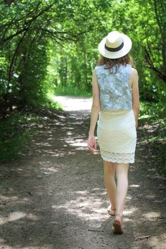 White lace & jean vest