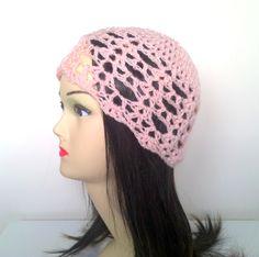Crochet beanie, cloche, peach hat. £15.00, via Etsy.