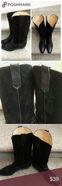 Beautiful Black Cowgirl Boots Leather Suade and Patten material. Some wear on heel but still in good condition. Made in Italy. Size 40.5 Galo Shoes Ankle Boots & Booties